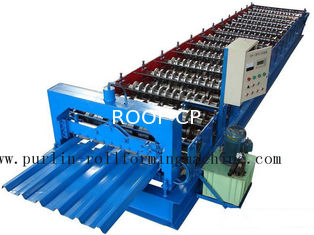 चीन PLC Steel Metal Roof Panel Roll Forming Machine , Roofing Sheet Roll Former 5 Ton आपूर्तिकर्ता