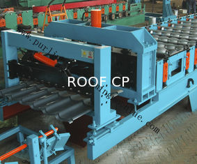 Glazed Roof Sheet Roll Forming Machine Automatic Hydraulic Glazed Tile Roll Forming Machine / Roofing Tile Process Line